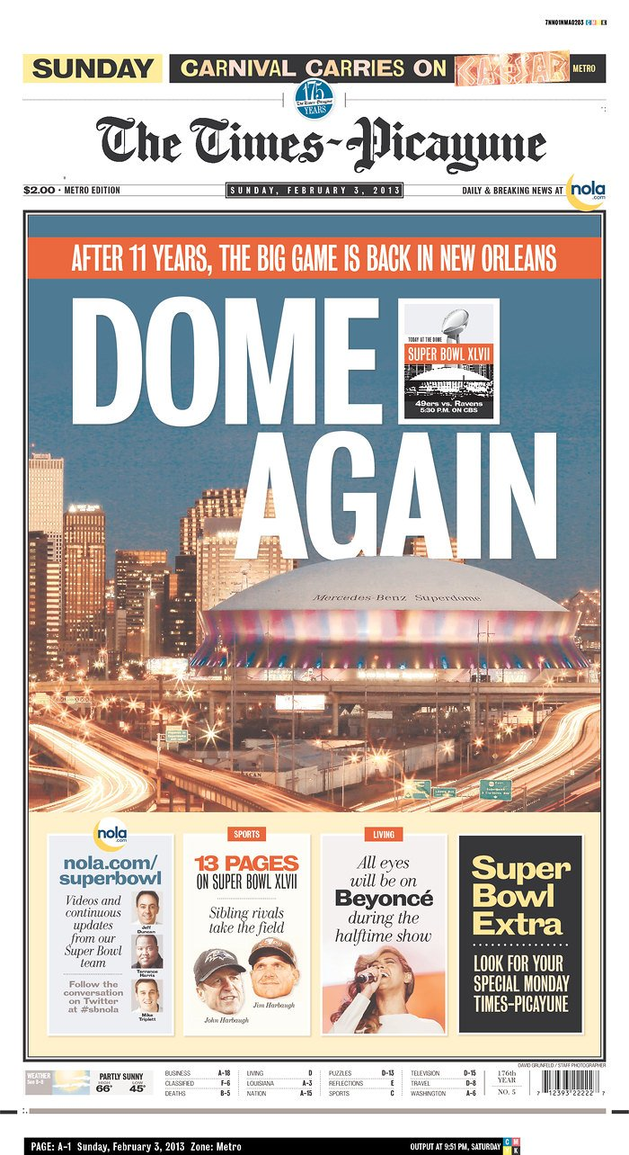 baltimore and san francisco newspapers get bowl