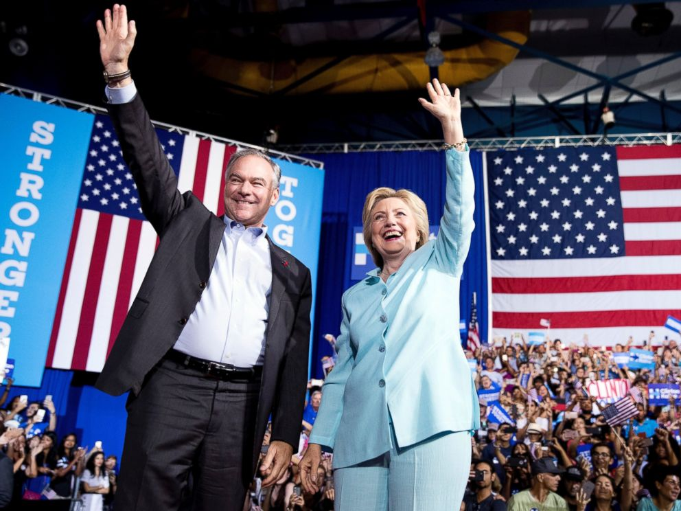 Democratic presidential candidate Hillary Clinton and Sen. Tim Kaine arrive at a rally at Florida International University Panther Arena in Miami, July 23, 2016. Clinton has chosen Kaine to be her running mate.