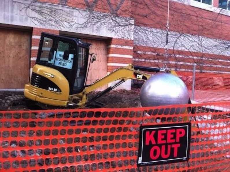 Grand Valley State University Wrecking Ball Reinstallation Construction