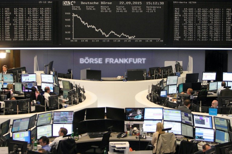 Frankfurt's DAX 30 shed 1.92 percent to 9,427.64 points, with scandal-generated pressure that had socked Volkswagen's stock this week spreading to fellow German car maker BMW