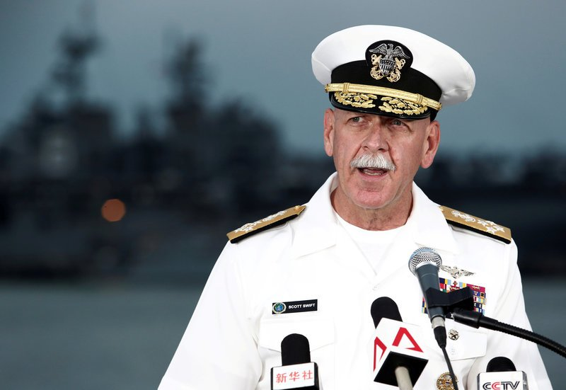 FILE PHOTO - Admiral Scott Swift, Commander of the U.S. Pacific Fleet, speaks at a news conference near the damaged USS John McCain and the USS America at Changi Naval Base in Singapore August 22, 2017. REUTERS/Calvin Wong/File Photo NO RESALES. NO ARCHIVES