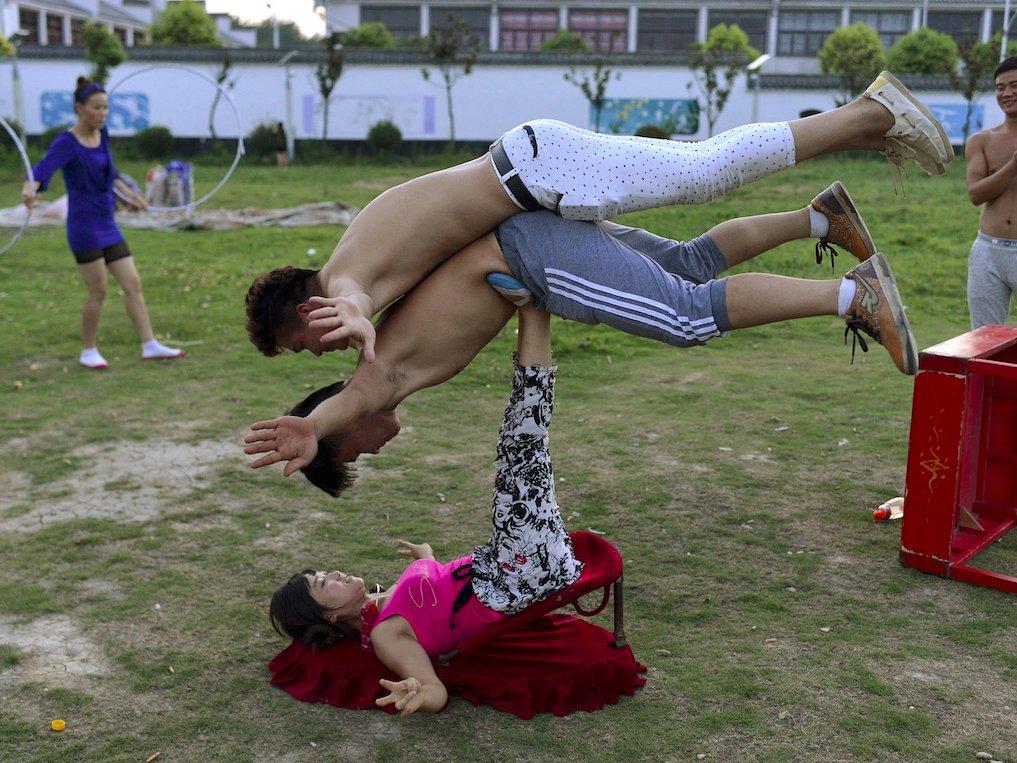 china acrobats balance