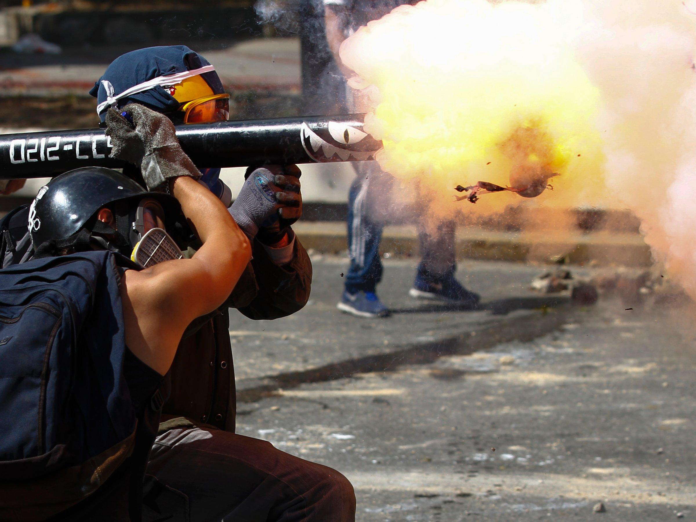 Venezuela Protests Mortar Rounds