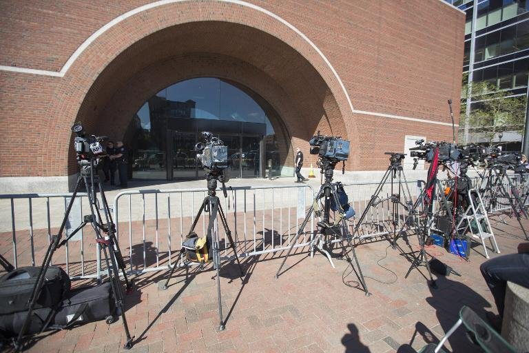 TV cameras line the entrance of John Joseph Moakley United States Courthouse as the Boston Bomber Trial enters jury deliberations in the sentencing phase of the trail on May 13, 2015 in Boston, Massachusetts