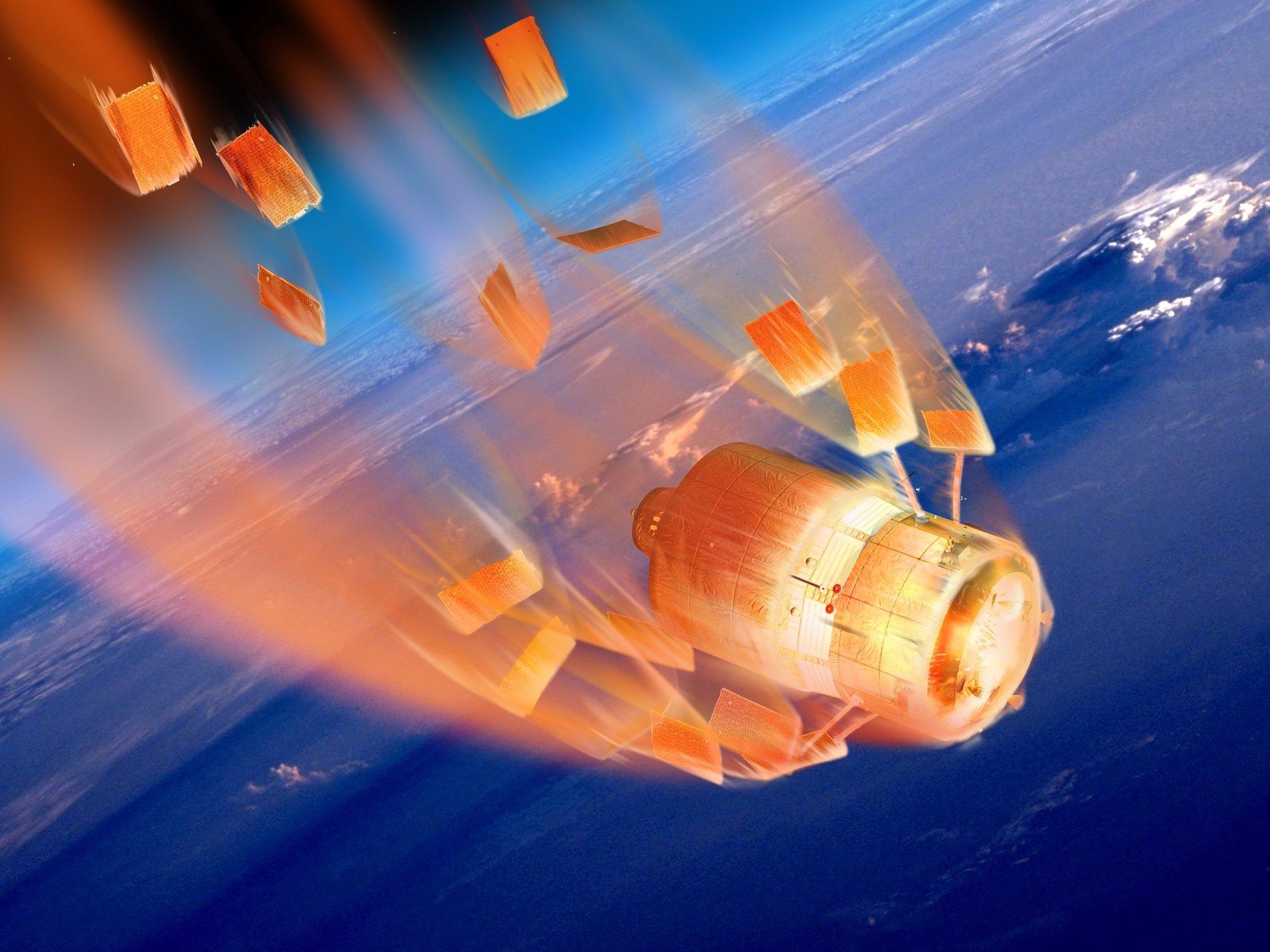 atv spacecraft atmospheric reentry burning up fireball esa d ducros