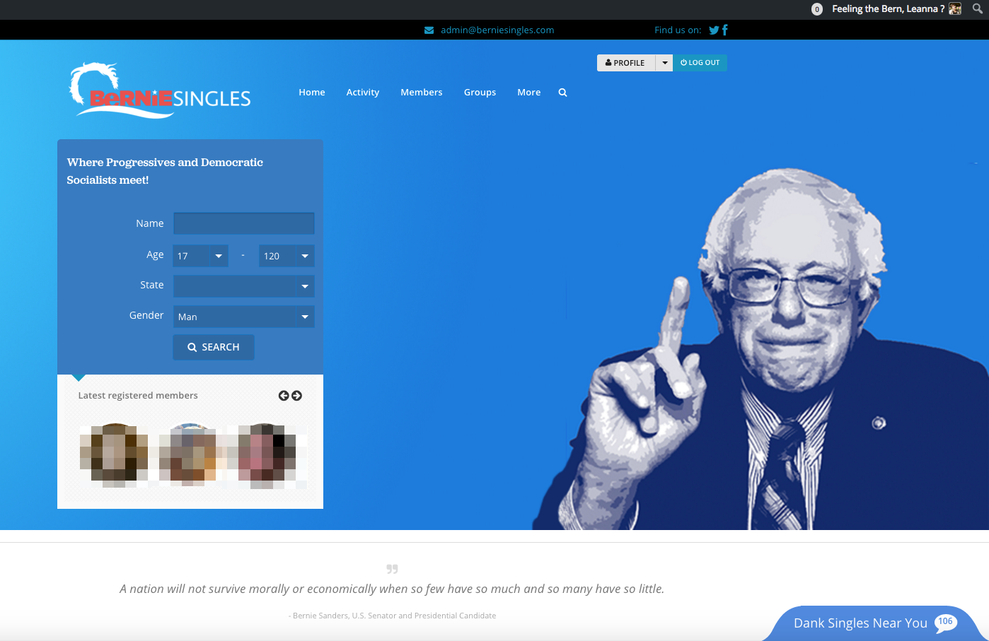 bernie dating site