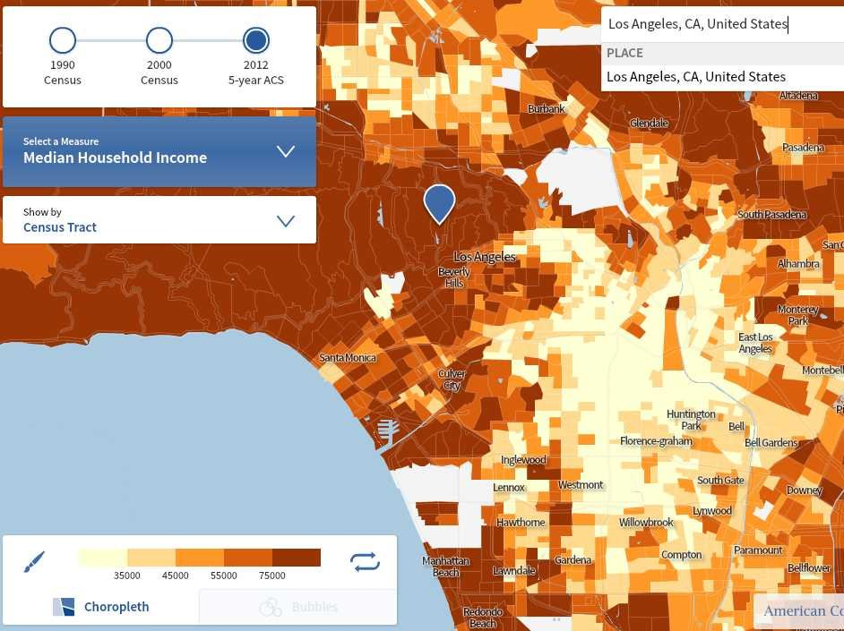 Census Map Income Los Angeles Census Map