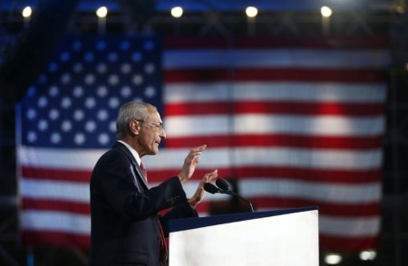 FILE PHOTO - John Podesta, chairman of the 2016 Hillary Clinton presidential campaign, addresses the crowd at Democratic U.S. presidential nominee Hillary Clinton's election night rally in New York, U.S., November 9, 2016.       REUTERS/Carlos Barria