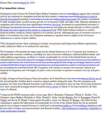the federal open market committee fomc statement of december 16 2009 In the united states, the federal funds rate is the interest rate at which depository  institutions  the federal reserve uses open market operations to influence the  supply of money in the  by the governors at federal open market committee ( fomc) meetings  december 16, 2015  fed raises rates at march meeting.