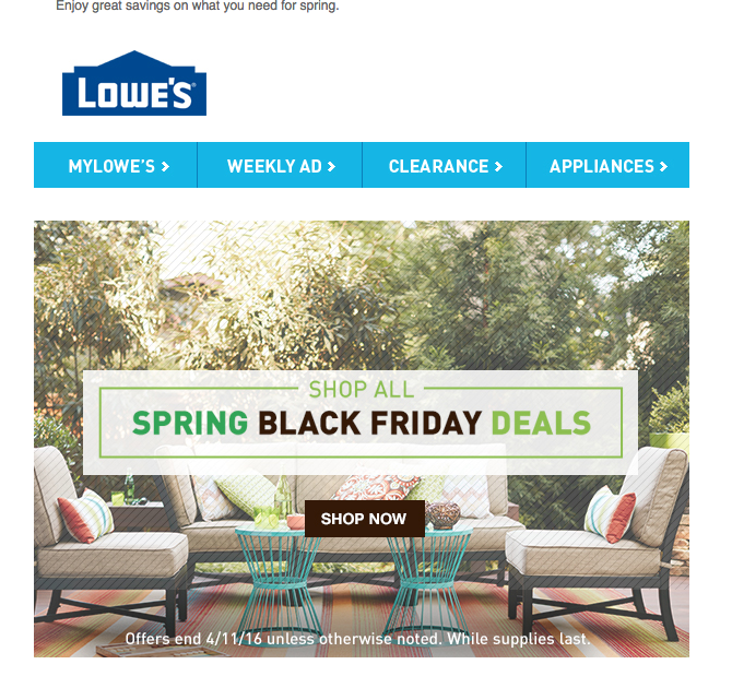 Complete coverage of Lowes Spring Black Friday Ads & Lowes Spring Black Friday deals info.