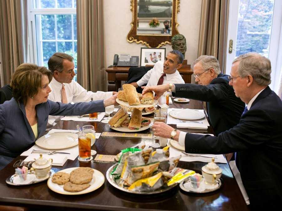 obama pelosi reid mcconnell lunch