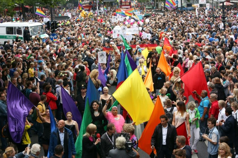 Participants attend the Gay Pride parade in Berlin on June 27, 2015