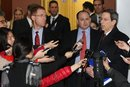 Robert Einhorn, U.S. State Department's special adviser for nonproliferation and arms control, right, talks to the media after meeting with South Korean Deputy Foreign Minister Kim Jae-shin at the Foreign Ministry in Seoul, South Korea, Tuesday, Jan. 17, 2012. Einhorn is urging South Korea to reduce its crude oil imports from Iran to put pressure on Tehran over its nuclear program. (AP Photo/Ahn Young-joon)