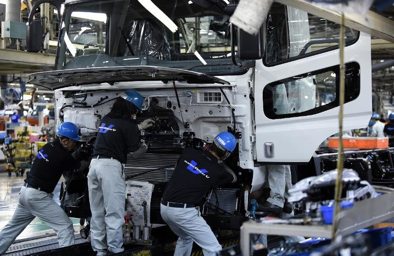 Japan's factory output falls by a less-than-expected 0.3% in March, but the still-weak statistics underscore an uncertain economic recovery