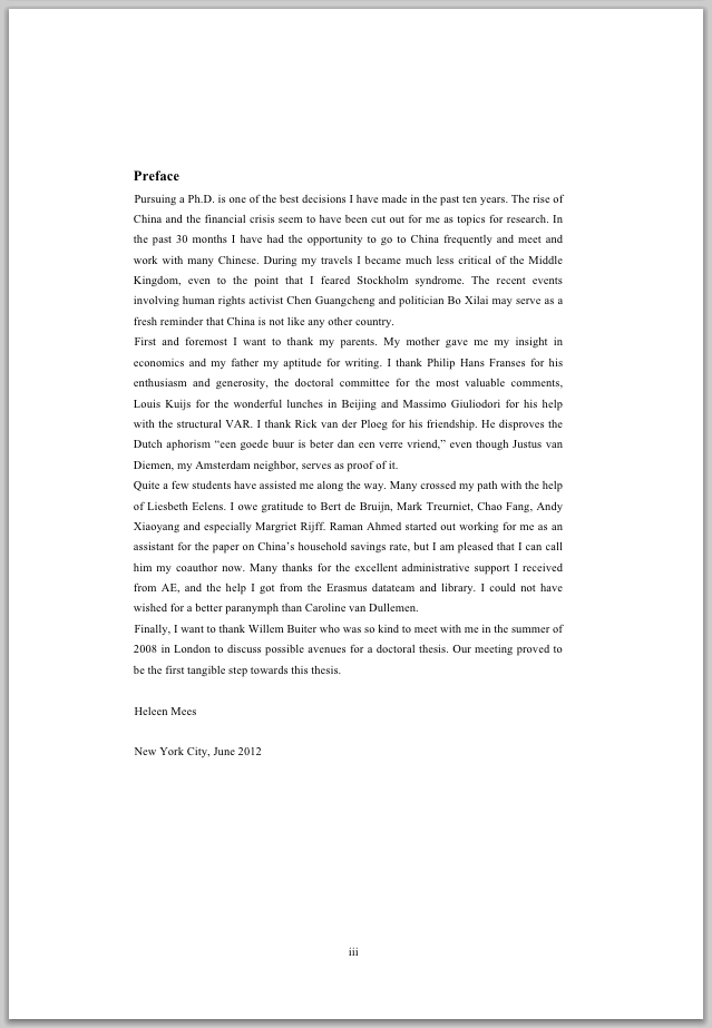 Preface of a phd thesis
