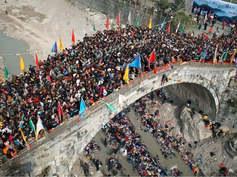 Crowded bridge in China
