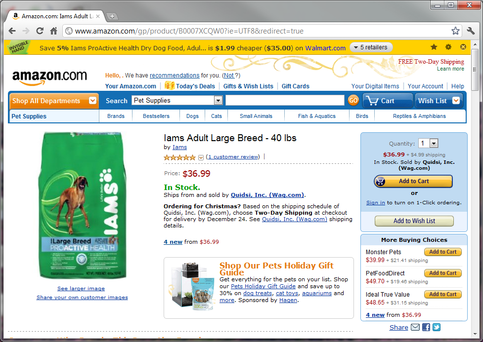 Shopping for Dog Food at Amazon.com, InvisibleHand Finds Lower Price at Walmart.com