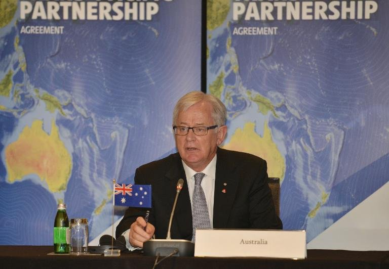 Australian Trade Minister Andrew Robb addresses the Trans-Pacific Partnership (TPP meeting in Sydney on October 25, 2014