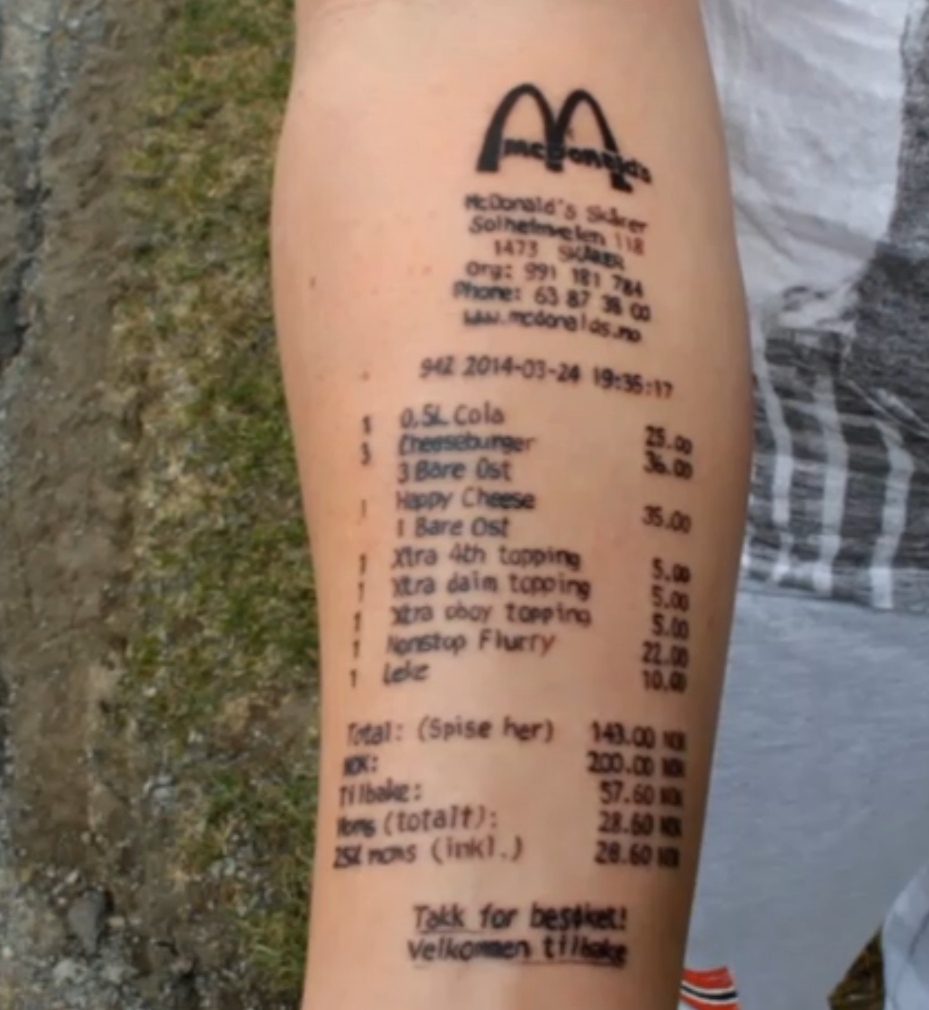 3dfd5b8af This Teenager Got A McDonald's Receipt Tattooed To His Arm   www ...