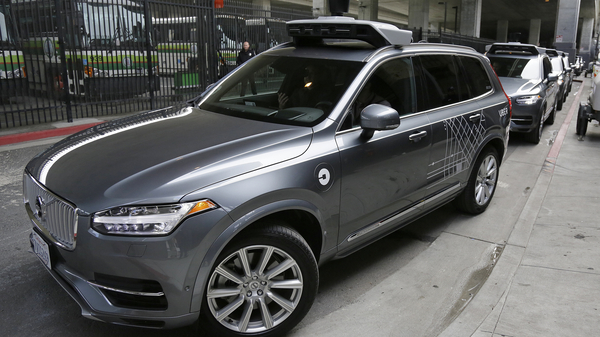An Uber driverless car heads out for a test drive in San Francisco in December 2016, the same month that the company halted testing there and moved it to Arizona.