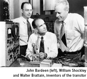 John Bardeen, William Shockley and Walter Brattain, inventors of the transitor