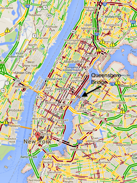 Google Maps Shows Manhattan Is Experiencing A Traffic Nightmare